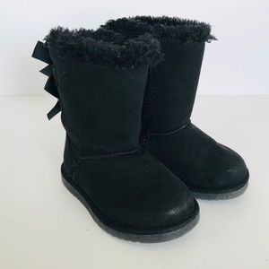 Little Girl Black Warm Bow Boots Size 6